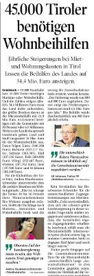 Artikel der Tiroler Tageszeitung zum Thema Wohnbeihilfen