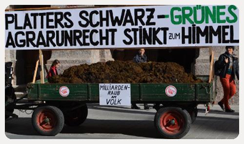 Protest der Liste Fritz gegen das Agrargesetz von ÖVP und Grünen