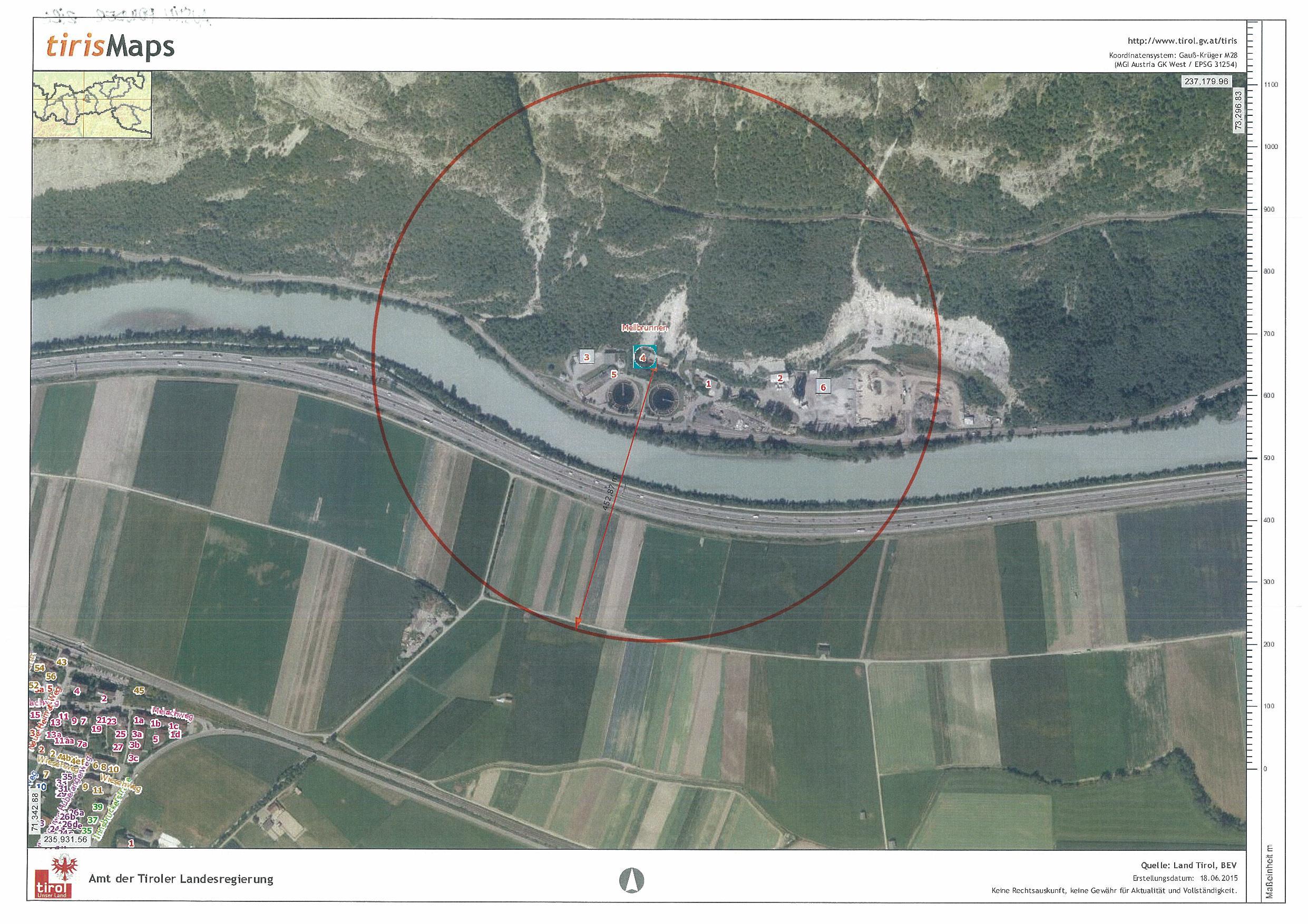 Gfährdungszone des Seveso-Betriebs Austin Powder in Zirl