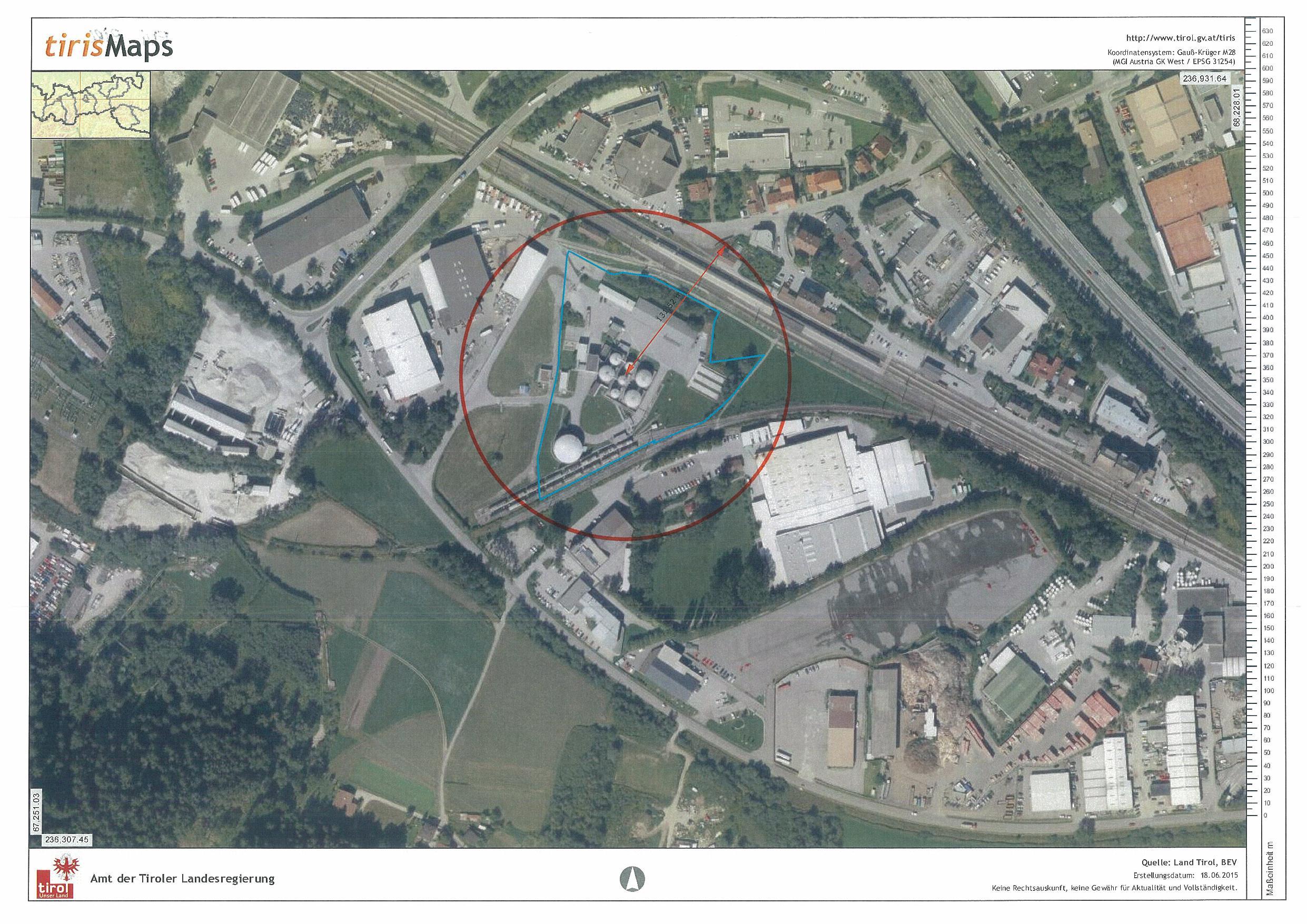 Gfährdungszone des Seveso-Betriebs ENI in Zirl