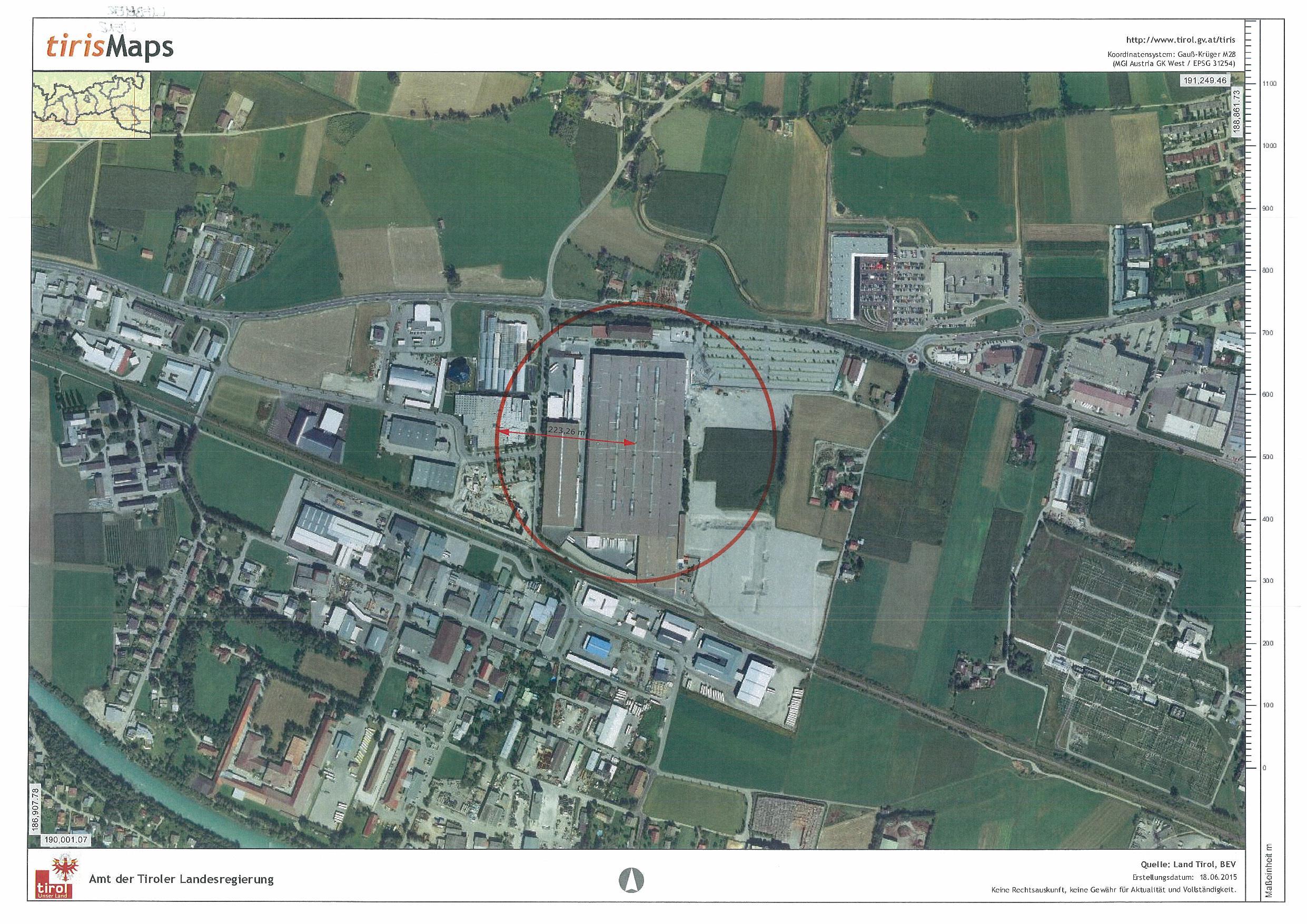 Gfährdungszone des Seveso-Betriebs Liebherr in Lienz