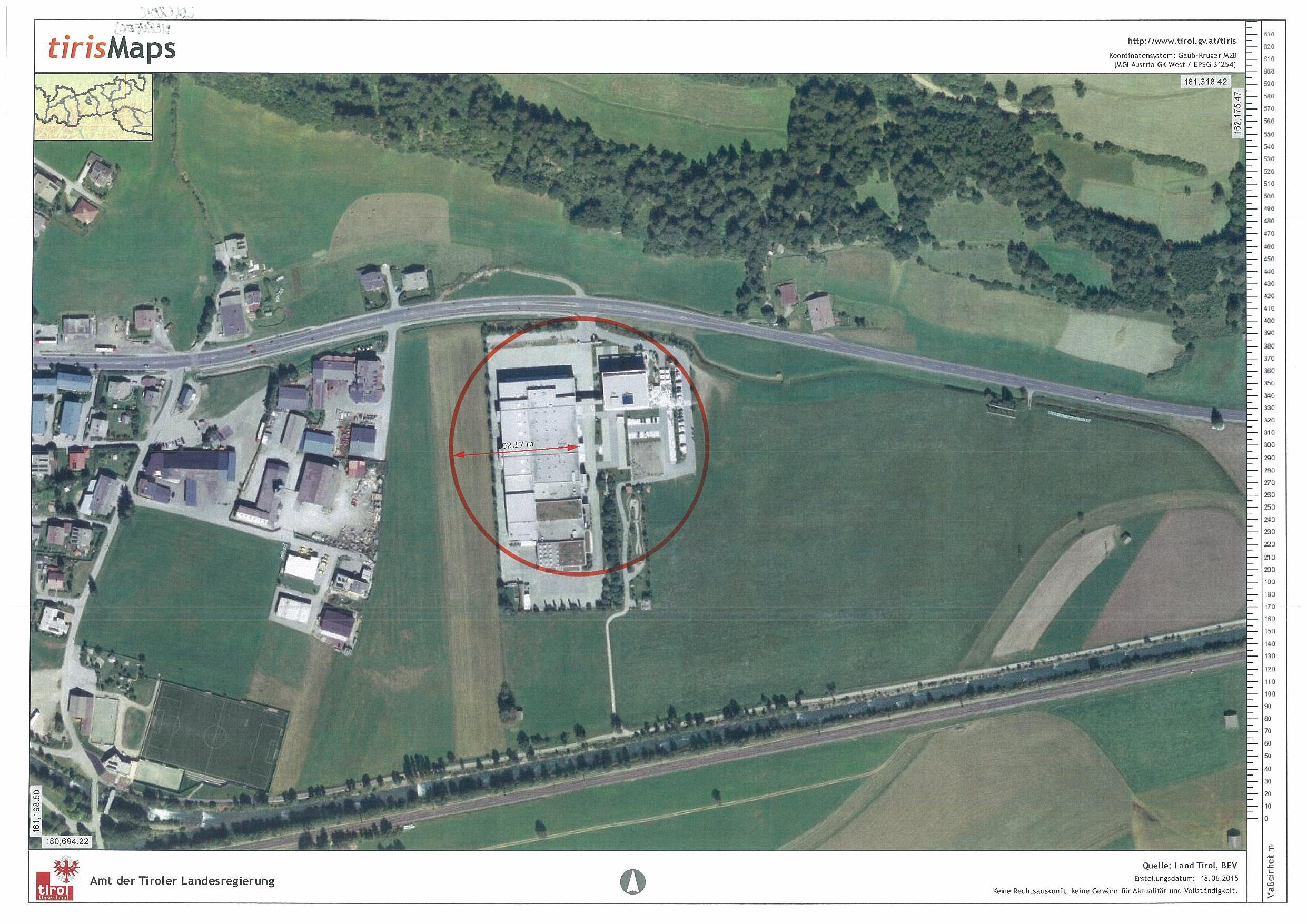 Gfährdungszone des Seveso-Betriebs Loacker in Heinfels