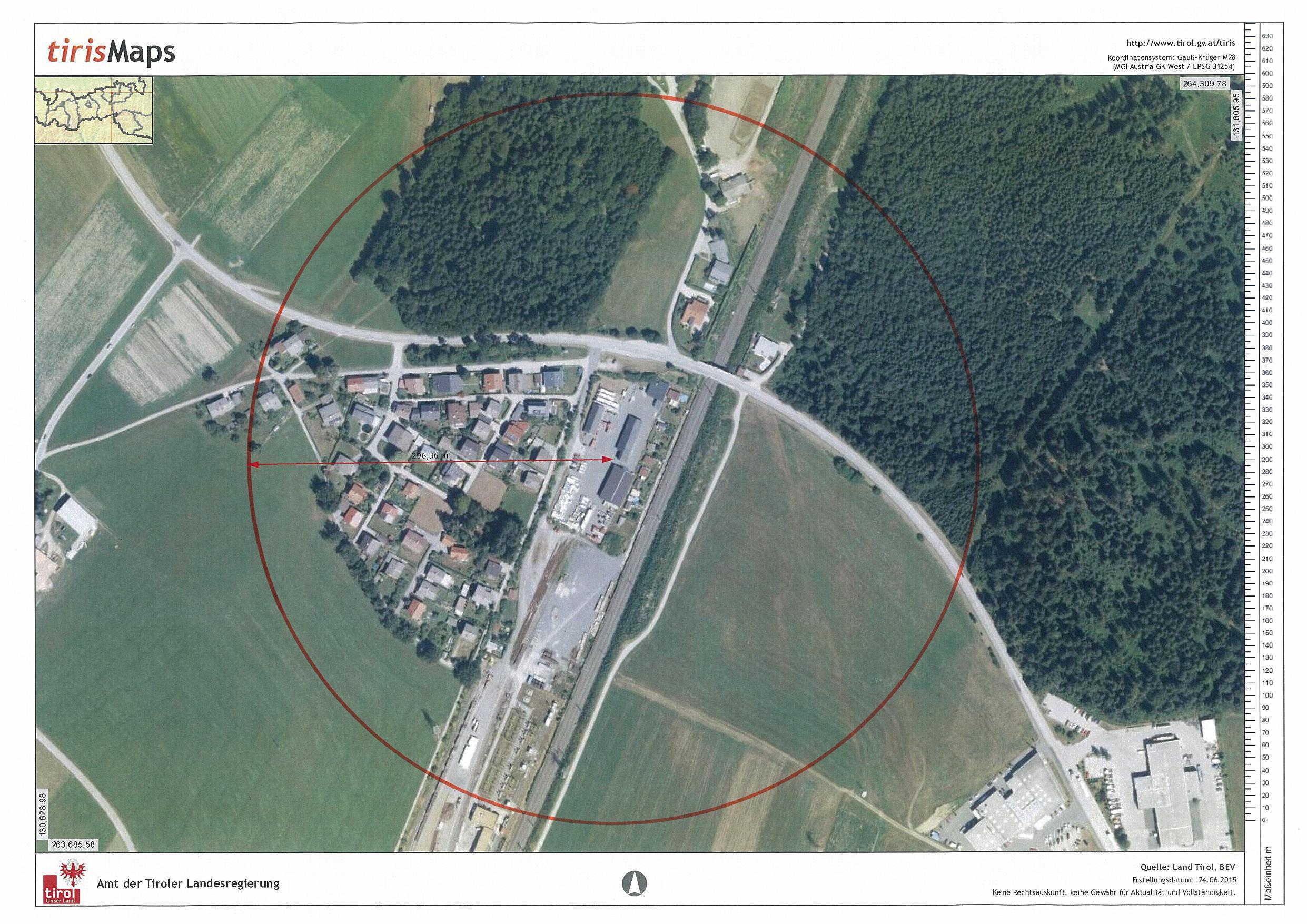 Gfährdungszone des Seveso-Betriebs Primagaz in Kirchbichl