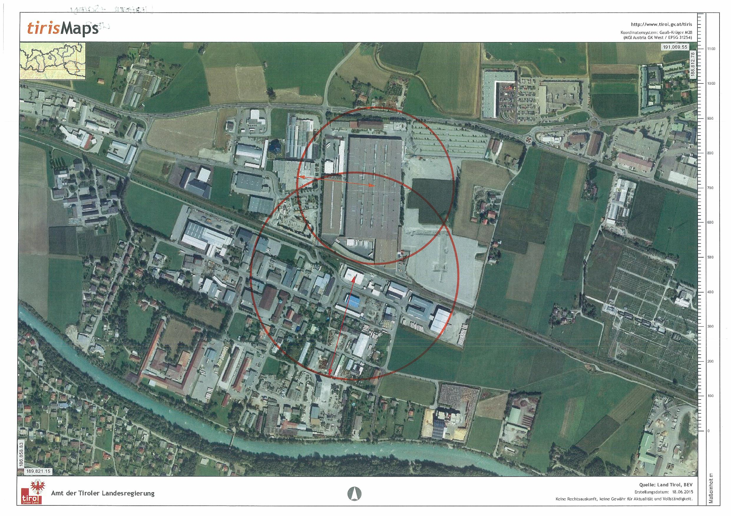 Gfährdungszone der Seveso-Betriebe Liebherr und Schedl in Lienz