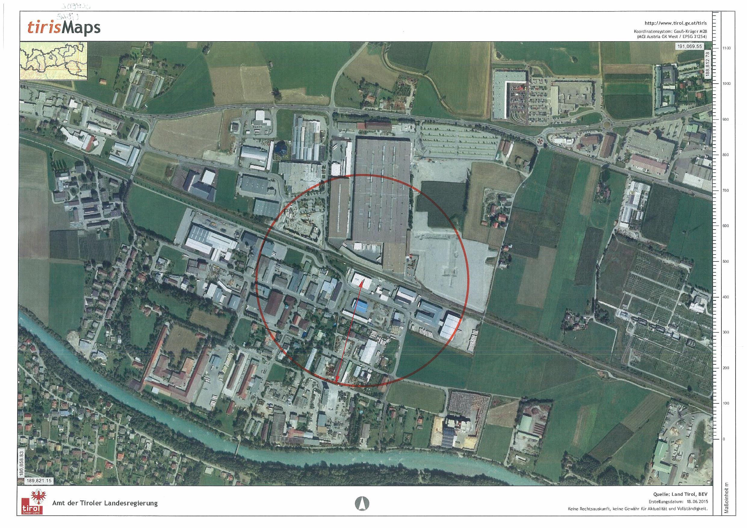 Gfährdungszone des Seveso-Betriebs Schedl Energie in Lienz