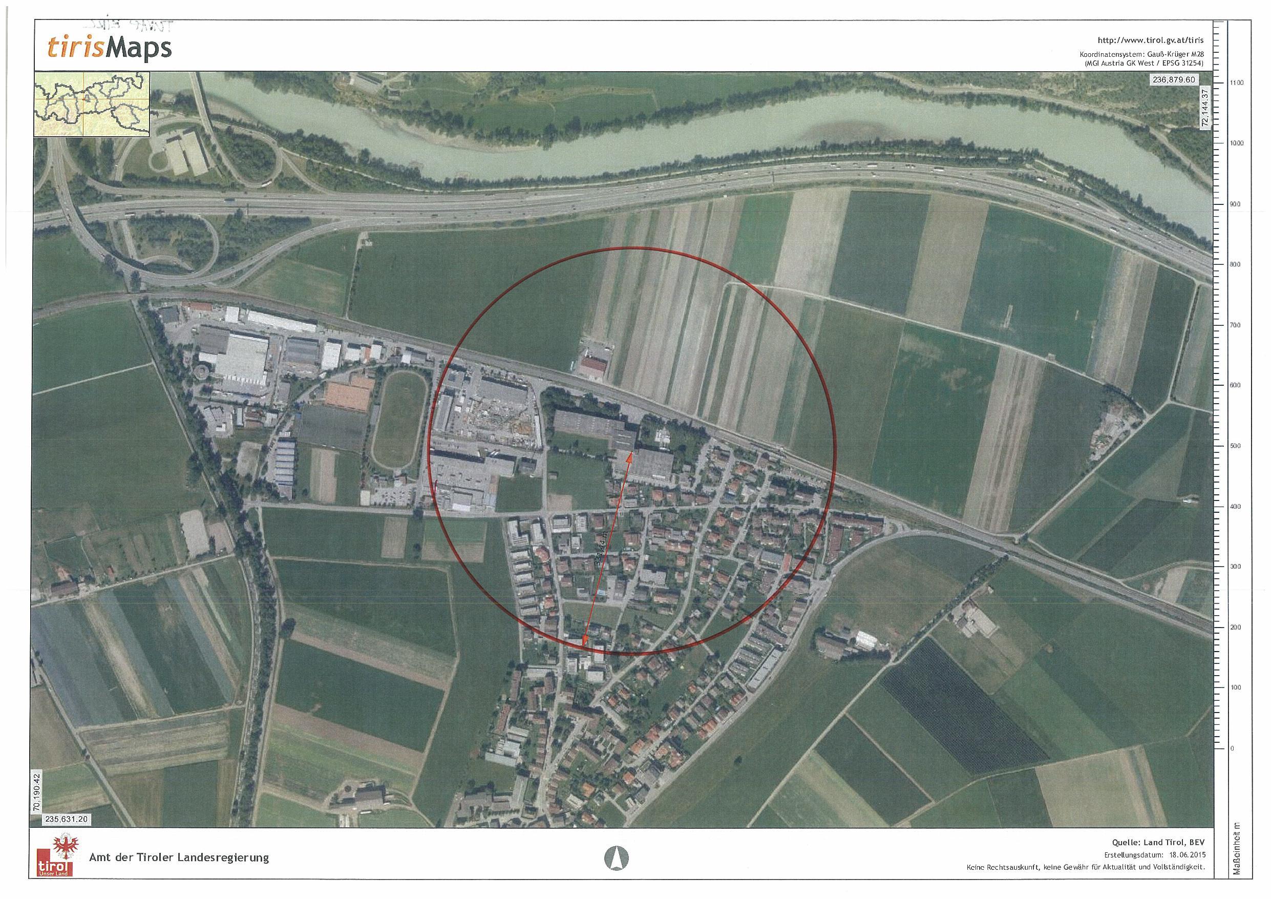 Gfährdungszone des Seveso-Betriebs TUNAP in Kematen