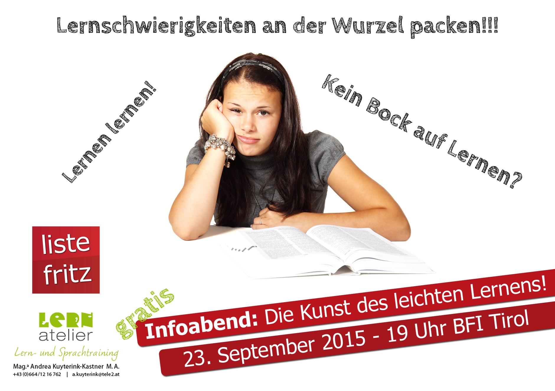 Einladung zu einer Infoveranstaltung zum Thema Lerntraining