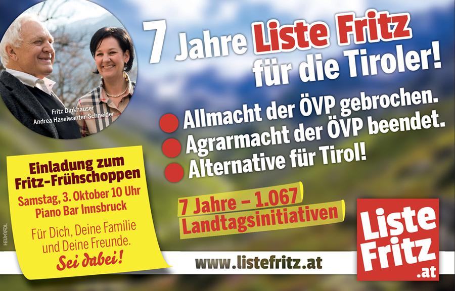 Einladung zum 7 Jahre Liste Fritz Frühschoppen