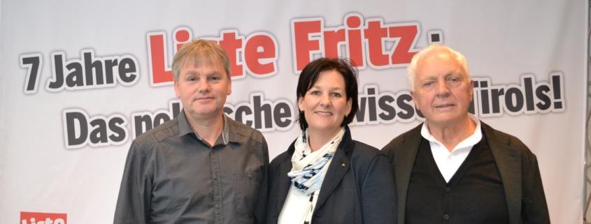Liste Fritz Obmann Fritz Dinkhauser mit seinen Stellvertretern