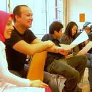 Flüchtlinge bei einem Deutschkurs