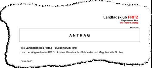 Ausschnitt aus einem Antrag der Liste Fritz