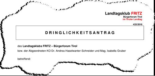 Ausschnitt aus einem Dringlichkeitsantrag der Liste Fritz