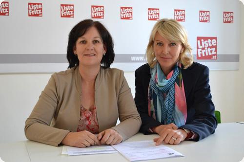 Andrea Haselwanter-Schneider und Isabella Gruber von der Liste Fritz