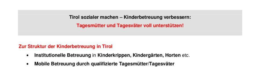 Pressereader zu Tagesmüttern und Tagesvätern in Tirol