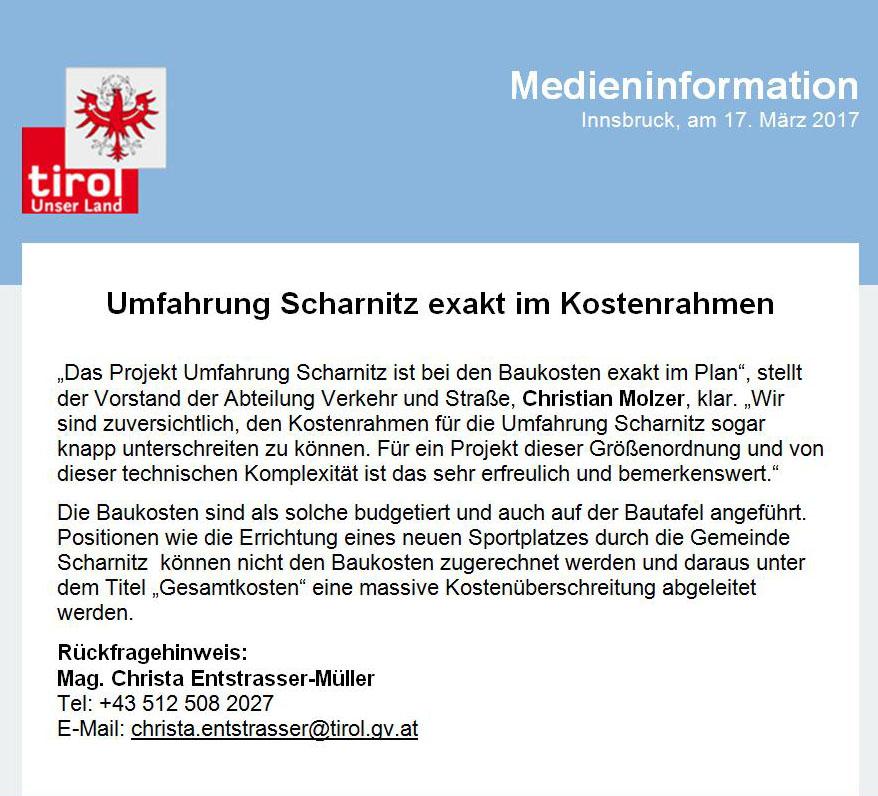 Umfahrung Scharnitz Presseaussendung Land Tirol