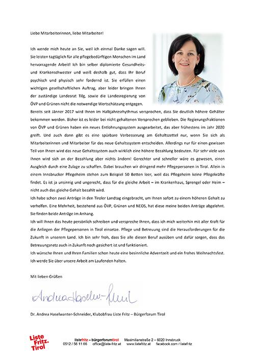 Brief an Pflegemitarbeiter