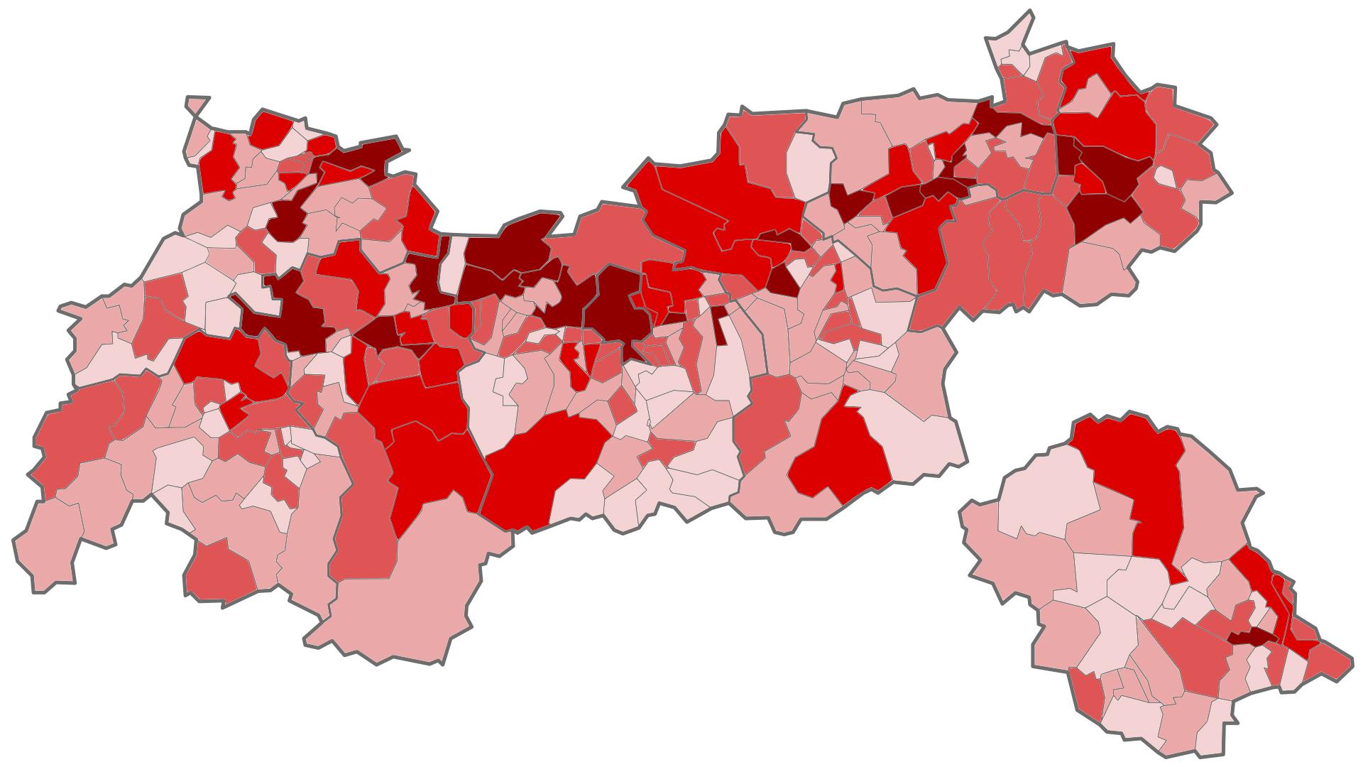 Baulandreserven pro Gemeinde
