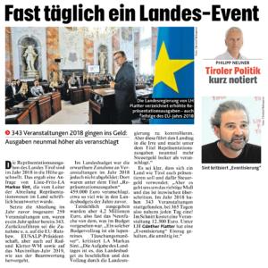 Artikel aus der Krone Tirol von Philipp Neuner (Ausgabe vom 4. November 2019)