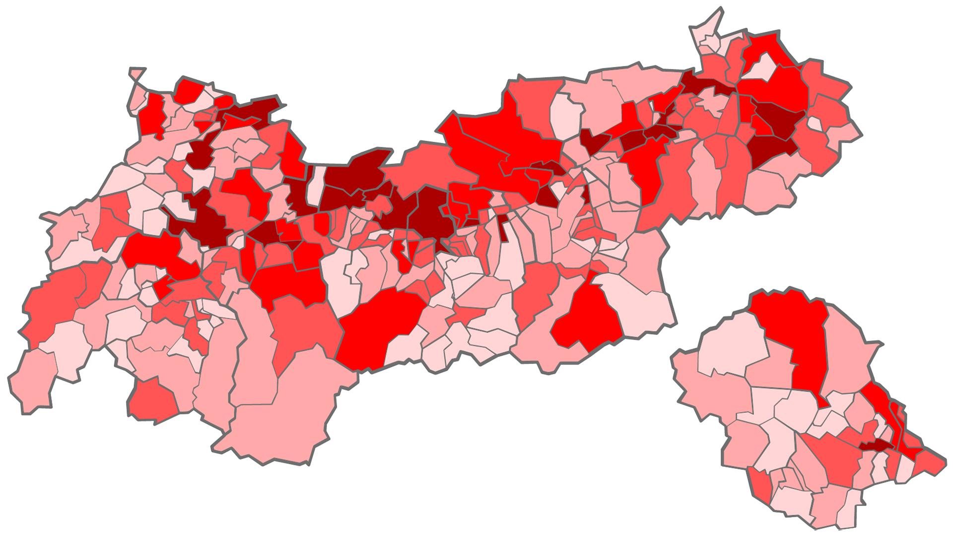 Baulandreserven pro Gemeinde 2020